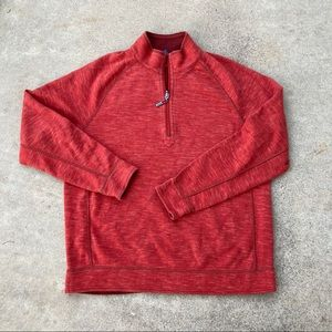 Tommy Bahama Reversible Quarter Zip Sweater Red